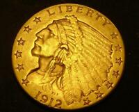 1912 $2 1/2 INDIAN HEAD GOLD COIN QUARTER EAGLE NICE