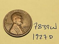 1927 D LINCOLN CENT WHEAT CENT 7839W VG - F