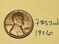 1926 1C BN LINCOLN CENT 7833W WHEAT CENT G