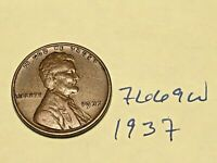 1937 1C BN LINCOLN CENT 7669W WHEAT CENT