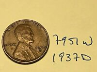 1937-D 1C BN LINCOLN CENT 7951W WHEAT CENT