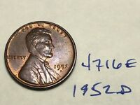 1952-D 1C RB LINCOLN CENT WHEAT CENT 3018E VF
