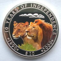 NAMIBIA 2000 LION INDEPENDENCE 10 DOLLARS SILVER COIN PROOF