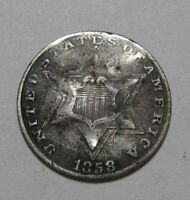 1858 THREE CENT SILVER   CIRCULATED CONDITION / DAMAGED   91