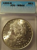 1890-S MORGAN SILVER DOLLARICGMINT STATE 64
