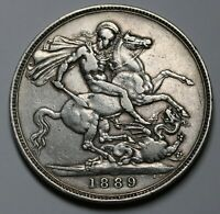 1889 UK GREAT BRITAIN STERLING SILVER CROWN COIN KM 765 SP 3