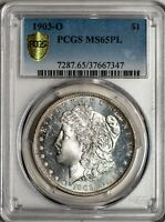 1903-O MORGAN PCGS GOLD SHIELD MINT STATE 65PL PROOF-LIKE SILVER DOLLAR,  THIS
