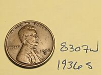 1936 S 1C LINCOLN WHEAT CENT CENT 8307W F