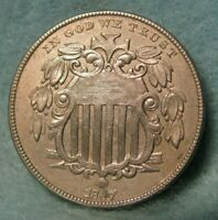 1867 WITH RAYS SHIELD NICKEL AU BU DETAILS   UNITED STATES COIN