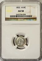 1832 H10C CAPPED BUST HALF DIME NGC AU58 SHINY LUSTER, GREAT AU EXAMPLE