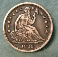 1838 SEATED LIBERTY SILVER HALF DIME CHOICE XF    UNITED STATES COIN