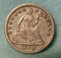 1850 SEATED LIBERTY SILVER HALF DIME VF   UNITED STATES COIN