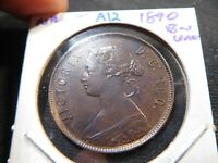 A12 CANADA NEWFOUNDLAND 1890 LARGE CENT UNC BROWN