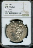 1889 S NGC UNC DETAILS CLEANED SILVER MORGAN DOLLAR COIN DA451