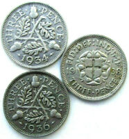 GREAT BRITAIN COINS THREEPENCE 1934 & 1936 & 1938 GEORGE V & VI SILVER 0.500
