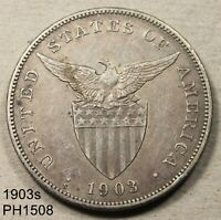PHILIPPINES PESO 1903 S CIRCULATED 90  SILVER COIN FREE SHIP