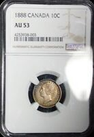 1888 CANADA NGC AU53 COLORFUL TONED 10 CENTS  TY313