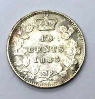 CANADA 1885 10 CENT DIME SILVER COIN OBVERSE 5 KEY DATE