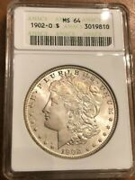 1902-O MORGAN SILVER DOLLAR UNCIRCULATED PROFESSIONALLY GRADED ANACS MINT STATE 64