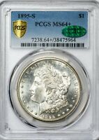 1895-S KEY DATE MORGAN PCGS GOLD SHIELD MINT STATE 64 CAC SEMI-PROOFLIKE SILVER DOLLAR
