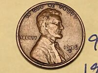 1936 S 1C LINCOLN WHEAT CENT CENT 9252W