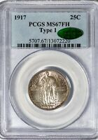 1917 25C STANDING LIBERTY PCGS MS67FH CAC FULL HEAD TYPE 1 SUPERB TONED GEM