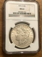 1890-S MORGAN SILVER DOLLAR$1 UNCIRCULATED GRADED  NGC MINT STATE 61  BEAUTIFUL COIN
