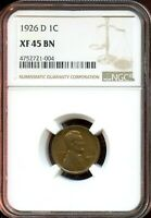 1926 D 1C NGC EXTRA FINE  45 BNEXTRA FINE 45 BROWN LINCOLN WHEAT CENT TA792