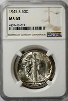 1945-S WALKING LIBERTY NGC MINT STATE 63 SILVER HALF DOLLAR