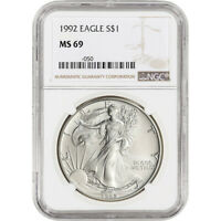 ONE 1992 NGC MINT STATE 69 AMERICAN SILVER EAGLE B657