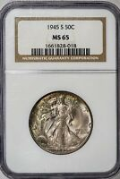 1945-S WALKING LIBERTY NGC MINT STATE 65 ALBUM-TONED SILVER HALF DOLLAR GEM