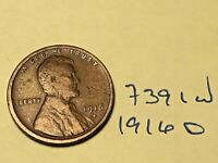 1916-D 1C BN LINCOLN CENT 7391W WHEAT CENT VG - F