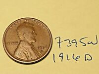 1916-D 1C BN LINCOLN CENT 7395W WHEAT CENT VG