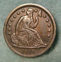1839 SEATED LIBERTY SILVER HALF DIME CHOICE XF   UNITED STATES COIN