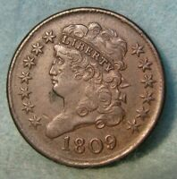 1809 CLASSIC HEAD HALF CENT CHOICE XF DETAILS   ROTATED REVE