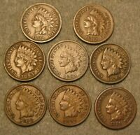 8 PIECE INDIAN HEAD PENNY UNITED STATES COIN LOT 1881 1897 A