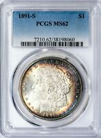 1891-S MORGAN PCGS MINT STATE 62 SILVER DOLLAR, PRETTY CRESCENT TONING