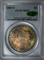 1885-O MORGAN PCGS MINT STATE 65 CAC SILVER DOLLAR GEM, COLORFUL TONING ON BOTH SIDES