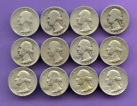 $3 FACE   12 COINS   ALL DIFFERENT DATES SILVER WASHINGTON Q