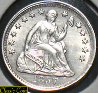 1857 SILVER SEATED LIBERTY HALF DIME UNCIRCULATED DETAILS 90  SILVER NICE COIN