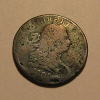 1806 DRAPED BUST HALF CENT PENNY   CIRCULATED / DAMAGED   22