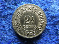 MALAYSIA BRITISH NORTH BORNEO 2 5 CENTS 1903 KM4 CLEANED