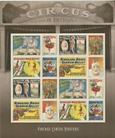 VINTAGE CIRCUS POSTERS SHEET OF 16 FOREVER STAMPS POSTAGE STAMPS SCOTT 4905A
