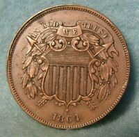 1864 CIVIL WAR ERA TWO CENT PIECE AU   ALMOST UNCIRCULATED   UNITED STATES COIN