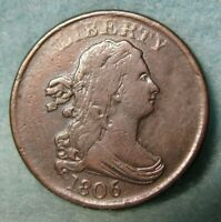 1806 DRAPED BUST HALF CENT VF   ROTATED REVERSE   UNITED STATES COIN