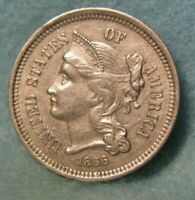 1866 THREE CENT NICKEL CHOICE XF    UNITED STATES COIN