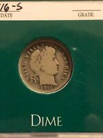 1916-S BARBER DIME, BETTER DATE FINAL YEAR ISSUE