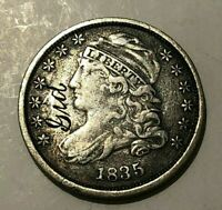 1835 CAPPED BUST SILVER DIME  FINE VF ENGRAVED