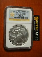 2011 W BURNISHED SILVER EAGLE NGC MS70 EARLY RELEASES GOLD STAR LABEL