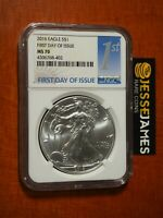 2016 $1 AMERICAN SILVER EAGLE NGC MS70 FIRST DAY OF ISSUE FDI 1ST BLUE LABEL